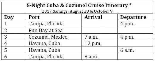 Carnival 5-Night Cuba & Cozumel Cruise Itinerary