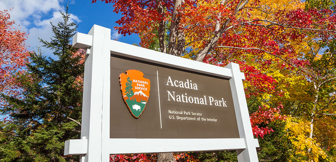 Acadia National Park sign in autumn