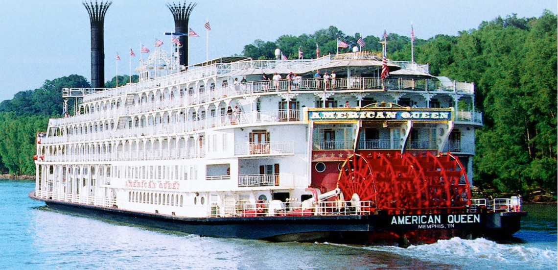 American Queen paddlewheeler on the river