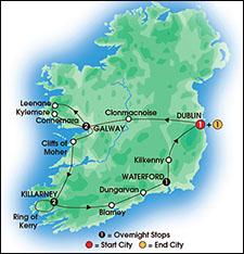 CIE Irish Gold Tour itinerary