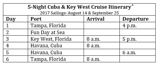 Carnival 5-Night Cuba & Key West Cruise itinerary