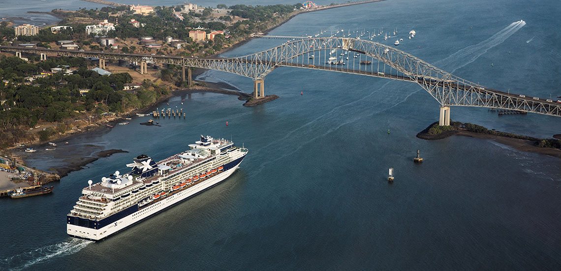 Celebrity Infinity approaching the Bridge of the Americas