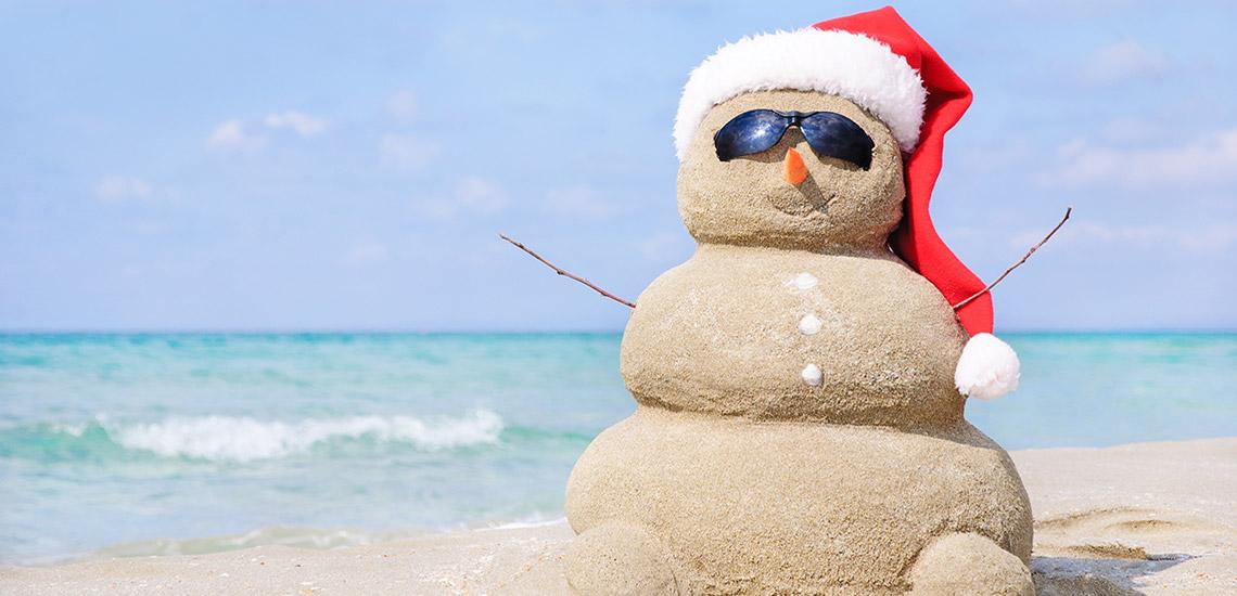 Christmas Snowman on the Beach