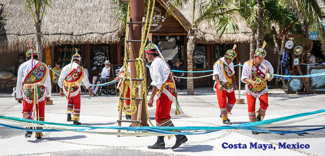 Ethnic dancers in Costa Maya, Mexico