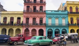Colorful buildings and cars in Havana, Cuba