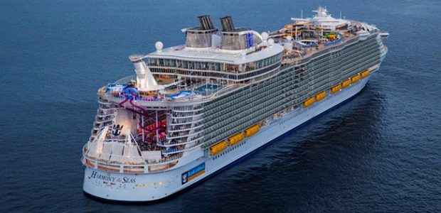 Royal Caribbean International's Harmony of the Seas aerial shot