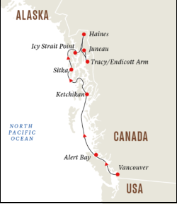 Hurtigruten Alaska & British Columbia Inside Passage Wilderness Expedition itinerary
