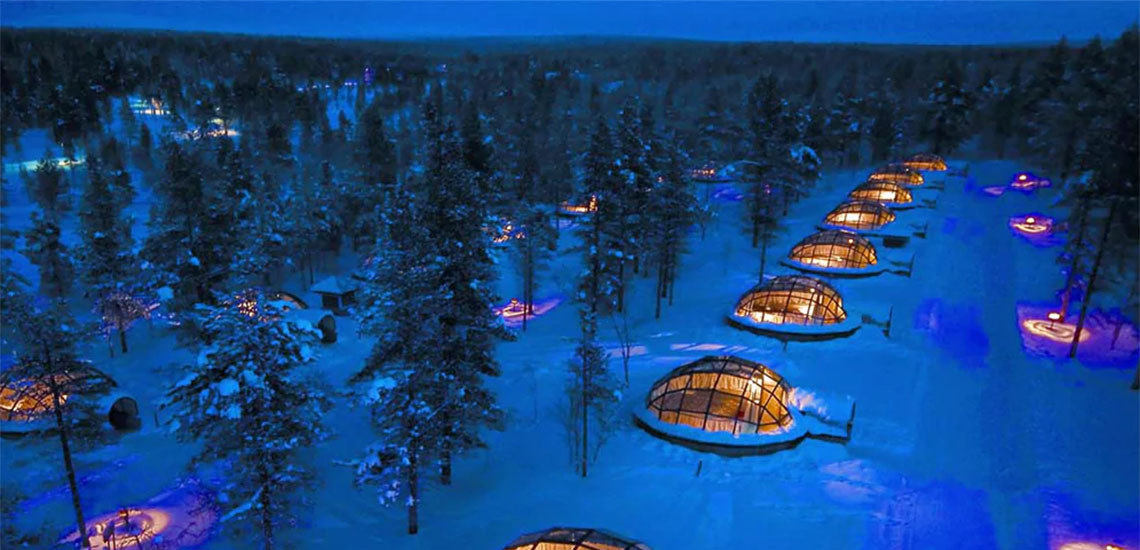 Igloos at arctic resort hotel