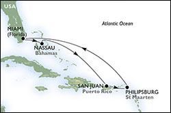 MSC Eastern Caribbean Cruise itinerary