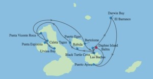 Galapagos Islands Expedition itinerary map