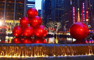 Christmas decorations by Radio City Music Hall