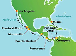 Norwegian Bliss Panama Canal Cruise itinerary