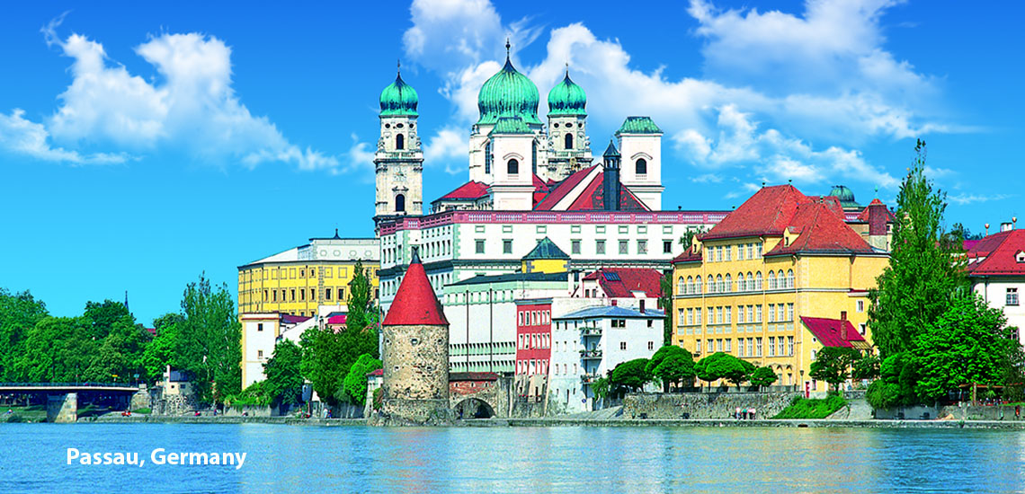 St. Stephen's Cathedral, on the Rivers Inn and Danube, in Passau Germany