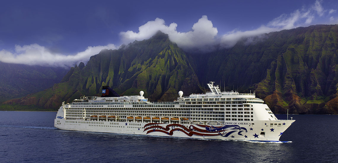 Pride of America sailing by Na Pali Coast, Kauai, Hawaii