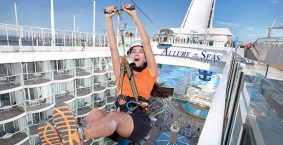 Zip lining on a the Allure of the Seas