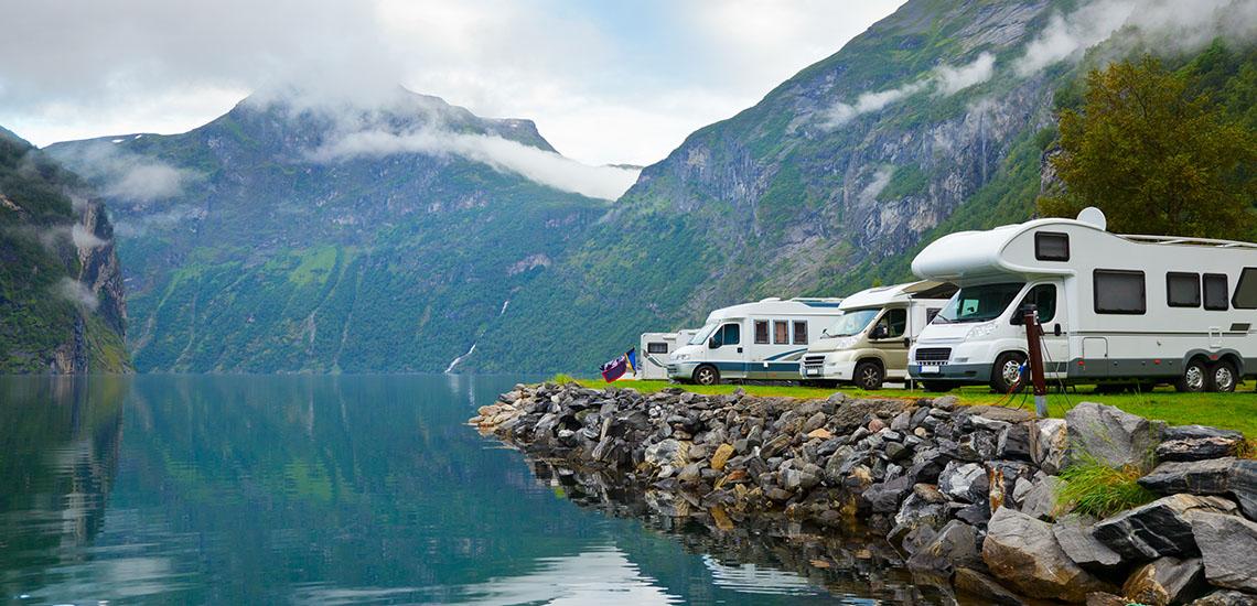 RV Camping by Mountain Lake