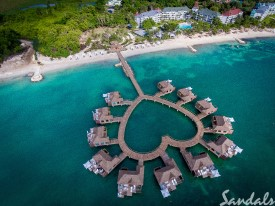 Over-the-water bungalows in Jamaica