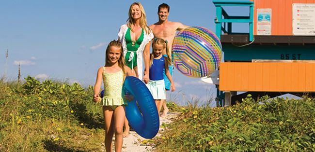 Myrtle Beach family walking on beach
