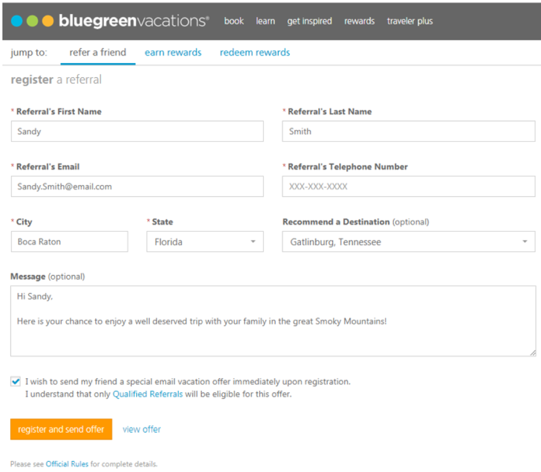 April OU Bluegreen Rewards Register a Referral